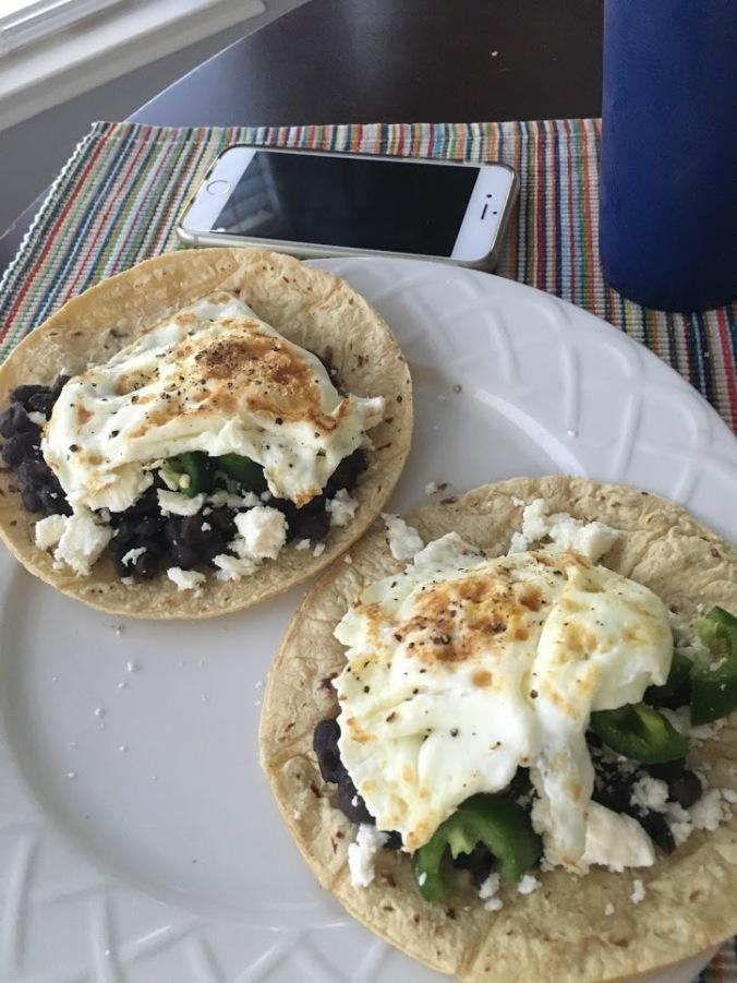 black bean taco with egg